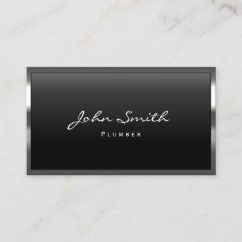 plumber cool metal border business card