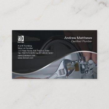 plumber wrench repair chrome tap business card