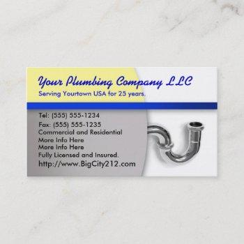 plumbing co editable business card