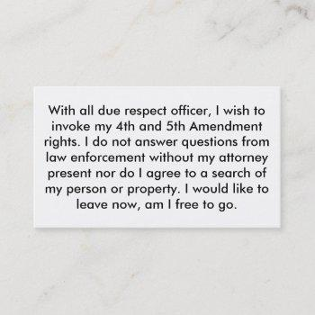police 5th amendment cards