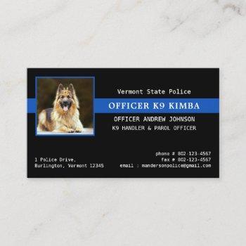 police k9 unit thin blue line law enforcement business card