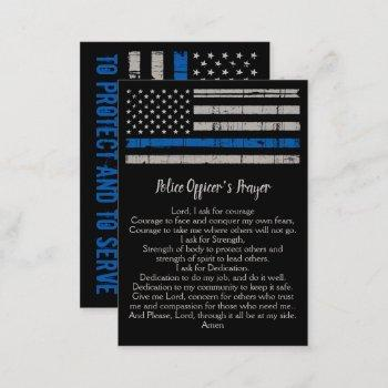 police officer prayer bulk thin blue line business card