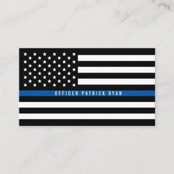 police thin blue line american flag professional business card