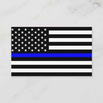 police thin blue line flag usa united states ameri business card