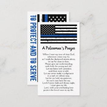policeman's prayer thin blue line police officer business card