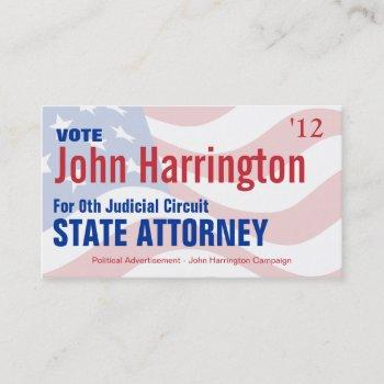 political campaign card - state attorney