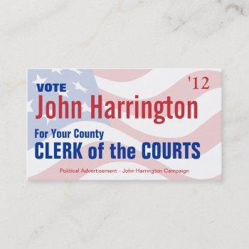 political campaign - clerk of the courts business business card