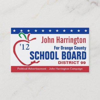 political campaign - school board business card