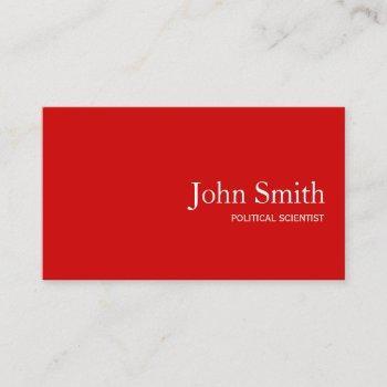 political scientist qr code simple plain red business card