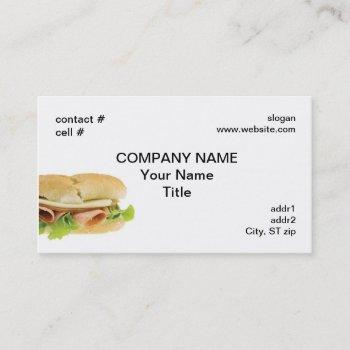 poor boy sub sandwich business card