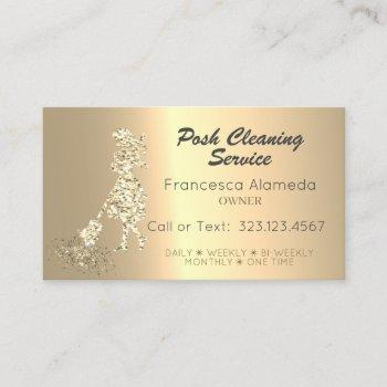posh cleaning service metallic 14k gold template business card