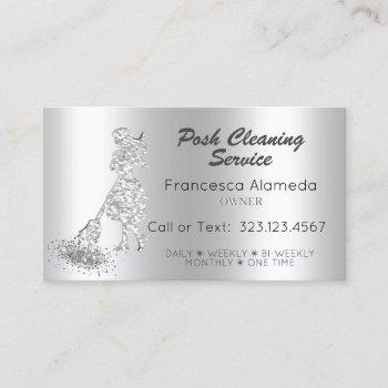 posh cleaning service metallic silver glitter maid business card
