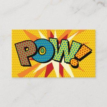 pow fun retro comic book business card