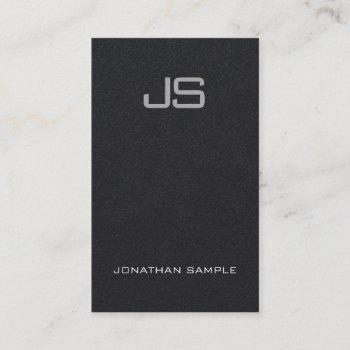 premium black charming monogram vertical plain business card