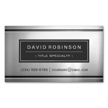 premium silver metallic stainless steel look business card magnet