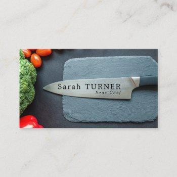 prep kitchen & knife, chef & cook business card