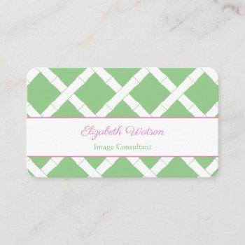 preppy pink and green bamboo trellis business card