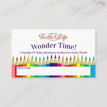 preschool sunday school youth incentive punch business card