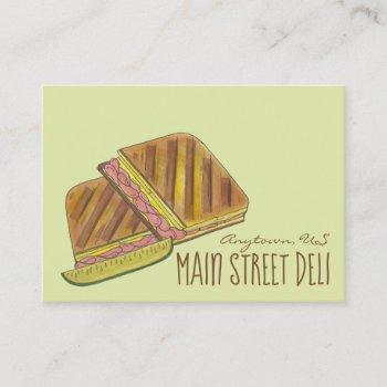 pressed cuban ham cheese sandwich deli restaurant business card
