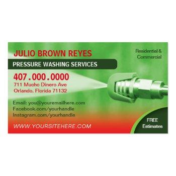 Small Pressure Washing & Cleaning Business Card Template Front View