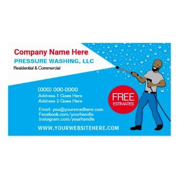 Small Pressure Washing & Cleaning Template Business Card Front View