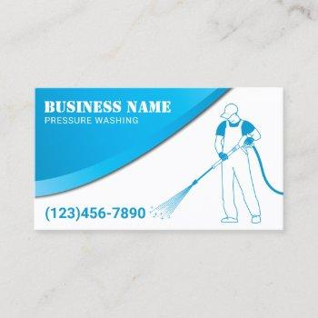 pressure washing modern blue power cleaning business card
