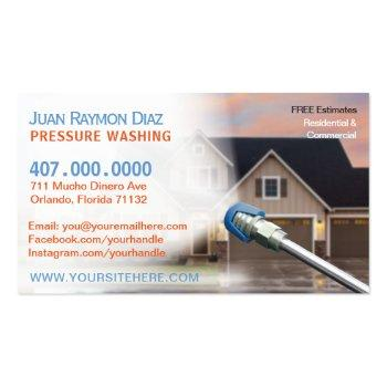 Small Pressure Washing & Power Cleaning Template Business Card Front View