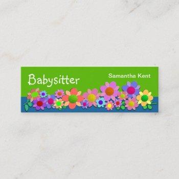pretty colorful flowers babysitting mini business card
