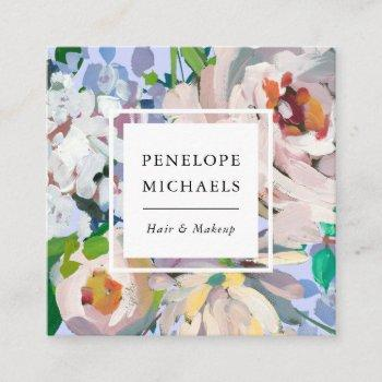 pretty periwinkle blue with watercolor floral square business card