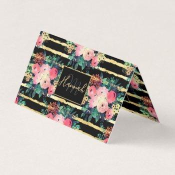 pretty pink flowers paint gold stripes pattern business card