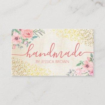 pretty pink rose bath body candle soap spa business card
