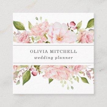 pretty pink roses on white   floral square business card
