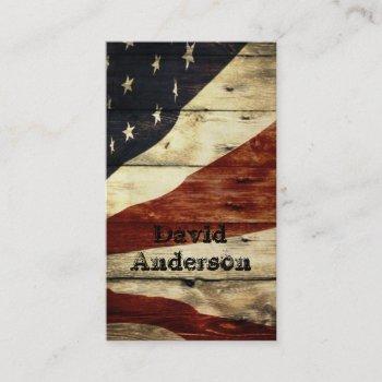 primitive americana barn wood american flag business card