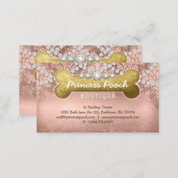 princess pooch dog care vet walker bone rose gold business card