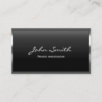 private investigator detective cool metal border business card