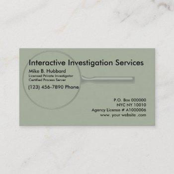 private investigator process server business card