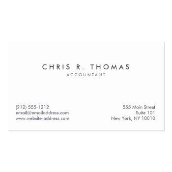 Small Professional Accountant And Finance Business Card Back View