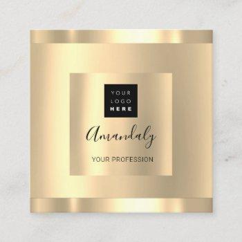 professional beauty studio hair salon gold logo square business card