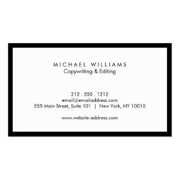 Small Professional Black And White Business Card Back View