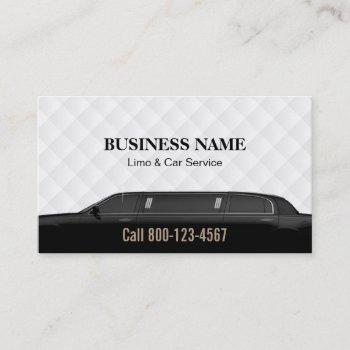 professional black limousine limo & car service business card