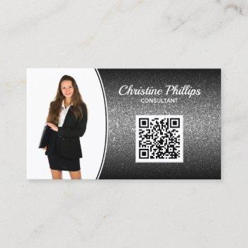 professional black ombre glitter custom photo qr business card