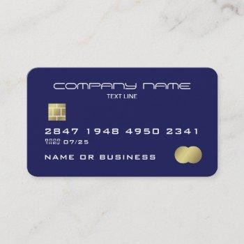 professional blue faux credit card business card