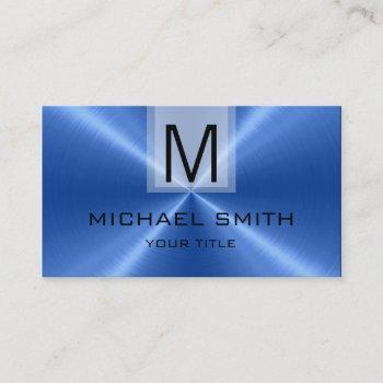 professional blue stainless steel metal monogram business card