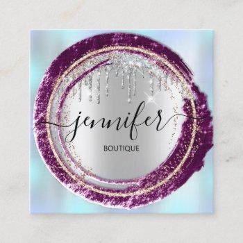 professional boutique shop blue rose silver gold square business card