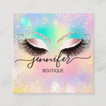 professional boutique shop eyes glitter holograph square business card