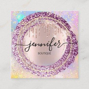 professional boutique shop glitter berry holograph square business card