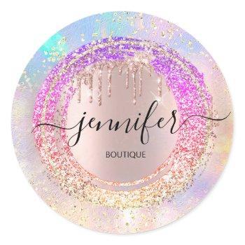 professional boutique shop glitter pink holograph  classic round sticker
