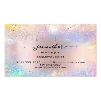 Small Professional Boutique Shop Glitter Pink Holograph Square Business Card Back View