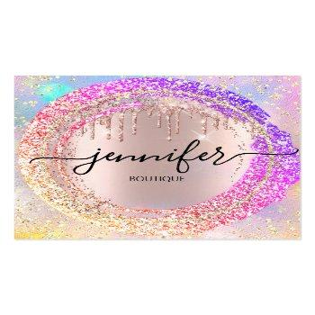 Small Professional Boutique Shop Glitter Pink Holograph Square Business Card Front View
