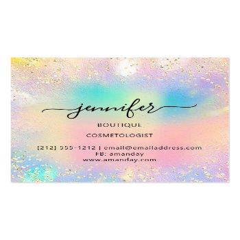 Small Professional Boutique Shop Gold Glitter Holograph Square Business Card Back View